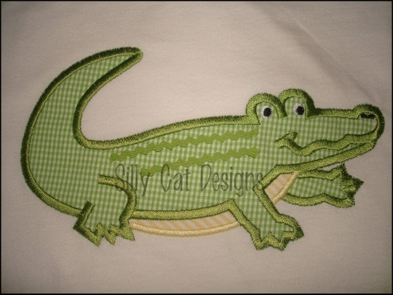 Alligator Applique Machine Embroidery Design With or Without Ric Rac