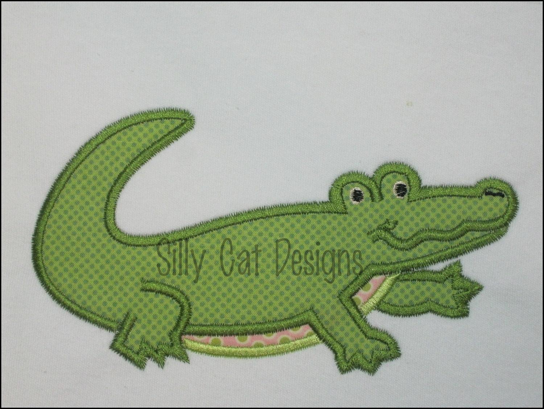 Mardi Gras Alligator Applique Embroidery Design  |Alligator Design Embroidery Floss