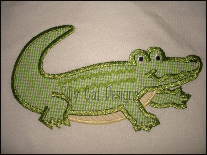 Baby Alligator Applique Embroidery Designs, Free Machine ...  |Alligator Design Embroidery Floss