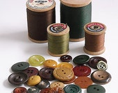 Autumn Vintage Buttons and Wooden Spools of Thread Instant Collection