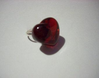 Red Gemstone Heart Ring Handmade