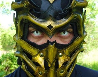 Scorpion Leather Mask - Inspired by Mortal Kombat