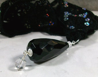 Black Onyx and Clear Quartz Crystal on Vintage Embroidered and Sequined Lace Ribbon OOAK Lower Chakra Healing Pendant Necklace