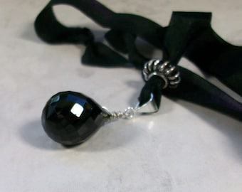 Natural Black Spinel Crystal on Raven Silk Ribbon OOAK Chakra Healing Necklace