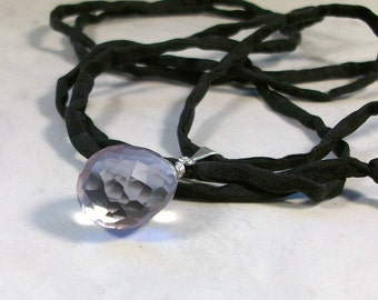 Genuine Rose de France Amethyst Crystal with Black Silk cord - Upper Chakra Healing  Necklace