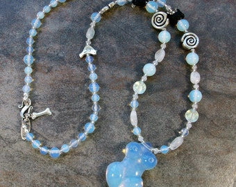 Opalite Sea Opal, Rainbow Moonstone and Silver Venus of Willendorf OOAK Dog Fairy Necklace