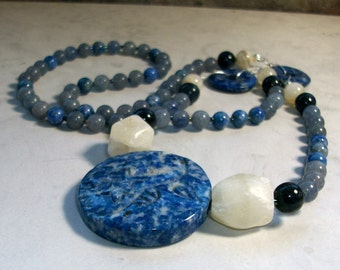 Indigo Moon - Carved Sodalite, Lapis, Blue Aventurine, Dumortierite, Moonstone and Calcite OOAK Brow Third Eye Chakra Healing Necklace