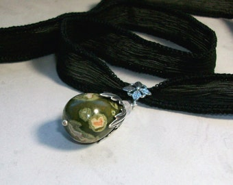 Natural Rhyolite with Rose Quartz, Silver and Black Silk Ribbon OOAK Higher Heart Chakra Healing Pendant Necklace