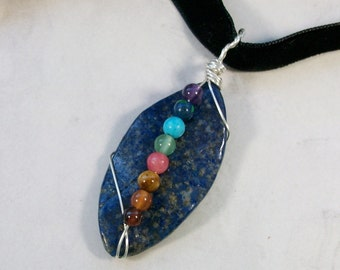 Natural Lapis Lazuli Leaf Full Spectrum Gemstone and Crystal with Black Silk Ribbon OOAK Chakra Healing Pendant Necklace