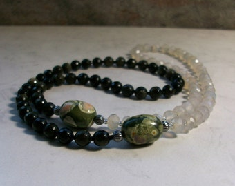 Yin Yang 2 - Chalcedony, Gold Sheen Obsidian and Rhyolite Natural Stone and Crystal Chakra Healing Necklace
