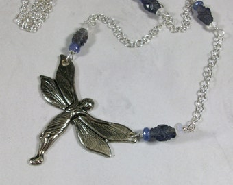 Dragonfly Fairy Tanzanite, Iolite, Rainbow Moonstone and Sterling Silver Chain OOAK Upper Chakra Healing Balancing Necklace
