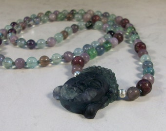 Restful Peace - Fluorite, Lepidolite and Tourmaline Natural Stone and Crystal Chakra Healing Necklace