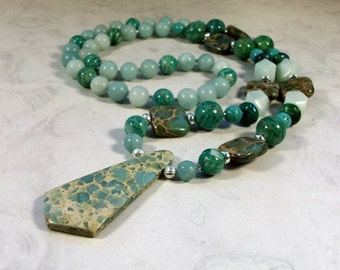 Aqua Terra Jasper, Amazonite, Magnesite and Chrysocolla Natural Stone and Crystal Throat Chakra Healing Necklace