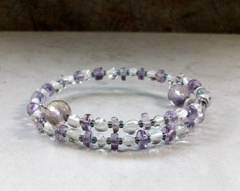 Dazzling Ametrine and Quartz Natural Stone and Crystal Upper Chakra Healing and Balancing Bracelet