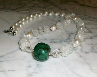 Lucky at Love - Emerald, Rainbow Moonstone and Pearl Natural Stone and Crystal Heart Chakra Healing Necklace