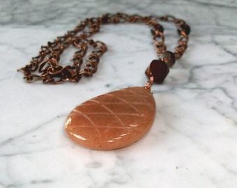 Archangel Metatron Pendant - Orange Aventurine, Mahogany Obsidian and Sardonyx
