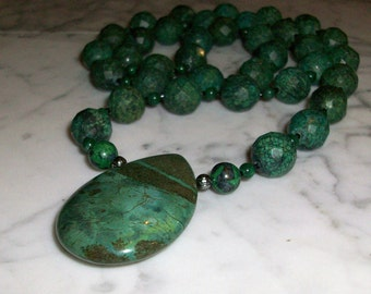 Chrysocolla, Malachite and Azurite Natural Stone and Crystal Chakra Healing Necklace