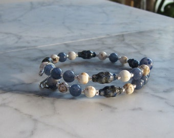 Blood Health - Blue and White - Natural Lapis Lazuli, Aventurine, Magnesite and Sodalite Stone and Crystal Chakra Healing Bracelet