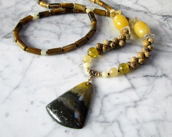 Yellow Banded Opal Natural Stone and Crystal Solar Plexus Chakra Healing and Balancing Necklace