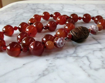 Dilythium Crystals - Carnelian, Fire Agate, Aventurine and Wood Buddha OOAK Natural Crystal Sacral Hara Chakra Healing Necklace