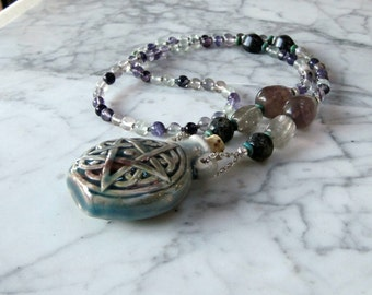 Protection - Pentagram Bottle Vessel and Semi-Precious Natural Stone and Crystal Chakra Healing Pendant Necklace