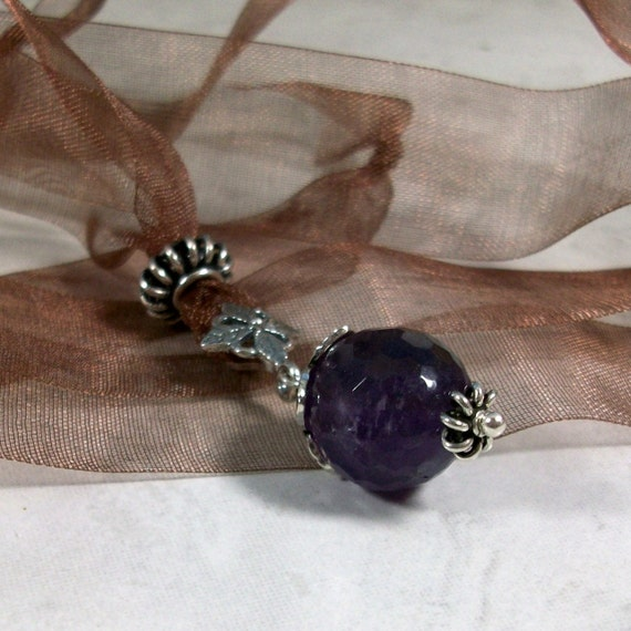 Amethyst and Sterling Silver Crystal Ball on Gossamer Taupe Midori Organza Ribbon OOAK Upper Chakra Healing Necklace