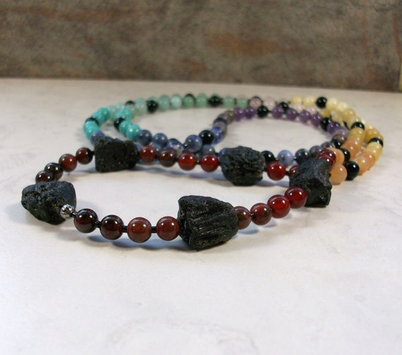 Full Spectrum Tektite Ceremonial Natural Stone and Crystal OOAK Chakra Healing Necklace