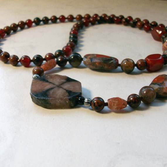 Chiastolite, Chalcedony, Garnet, Carnelian, Fire Agate and Mahogany Obsidian Natural Stone Crystal OOAK Root Base Chakra Healing Necklace