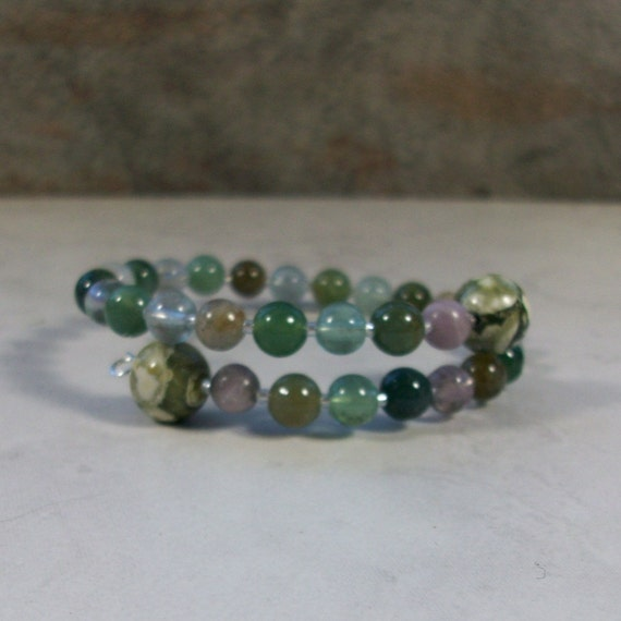 Colds, Flu, Allergy & Sinusitis Natural Stone and Crystal Bracelet