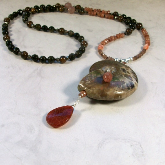 Success - Ammonite, Andalusite, Sunstone, Opal, Pyrite, Muscovite, Bronzite, Obsidian and Fire Agate Natural Stone Chakra Healing Necklace