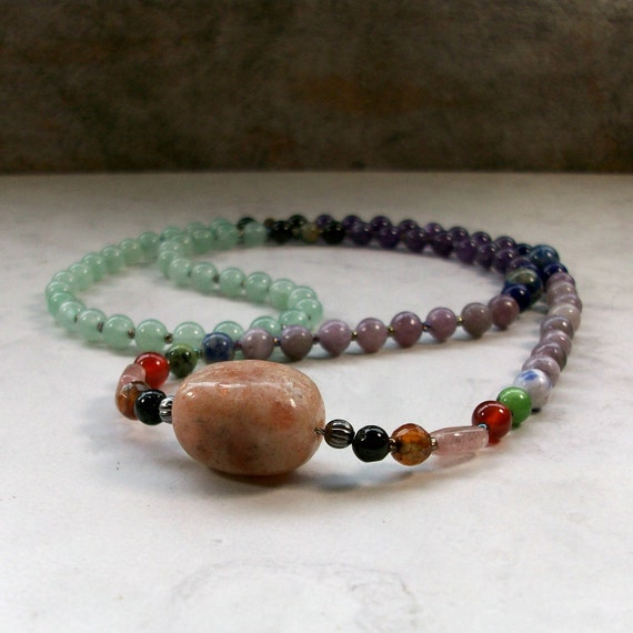 Allergy Relief OOAK Natural Stone and Crystal Chakra Necklace