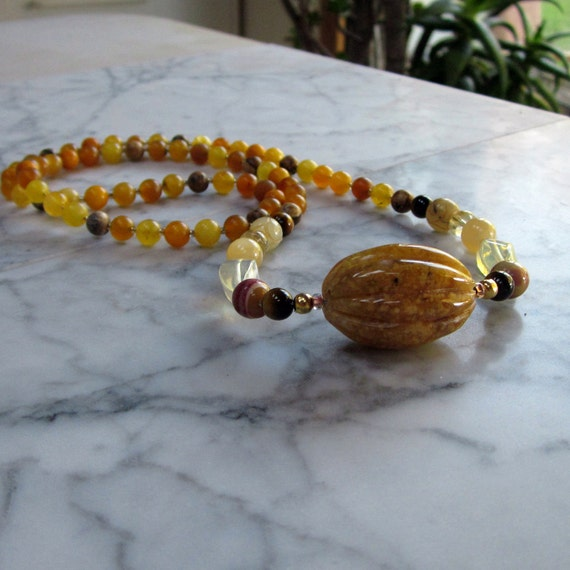 Inner Strength - Golden Natural Stone and Crystal Solar Plexus Chakra Healing and Balancing Necklace