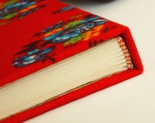 Handmade book - bound traditional Turkish fabric with Turkish marbling paper