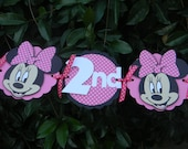 Minnie Mouse Birthday Party Banner - Pink/White Polka Dots