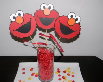 Elmo Centerpiece Picks - Set of 3