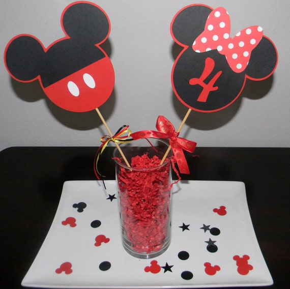 Choose any 3 - Mickey and Minnie Centerpiece Picks