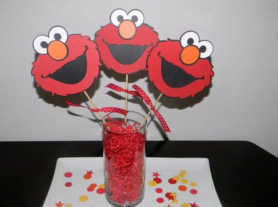 Elmo Centerpiece Picks - Set of 3
