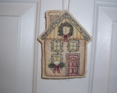Christmas Ornament Embroidered Victorian Home