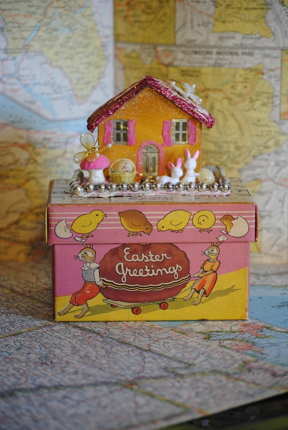 Vintage Easter cottage....Vintage Spring Putz House & Chocolate Candy Box