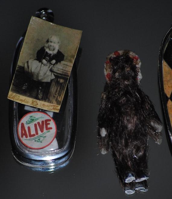 Alive... Carnival Side Show dog girl Freak show  miniature doll, trade card, & pendant Alice Doherty, Minnesota Woolly Girl oddity