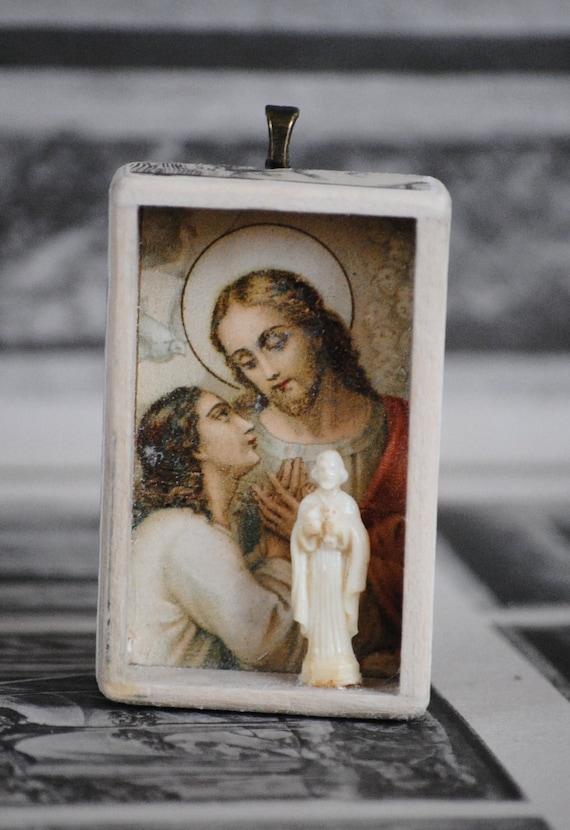 Miniature Cabinet of  Saints... Jesus Saint John......... Miniature Art Diorama Pendant with necklace