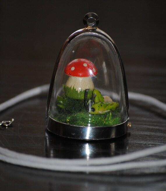 Miniature Lucky cricket, diorama, terrarium, pendant, necklace