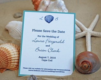 Shell with Initials- Save the Date, Nautical Save the Dates, Coastal Save the Date, Beach Save the Date, Wedding Save the Date, Cape Cod