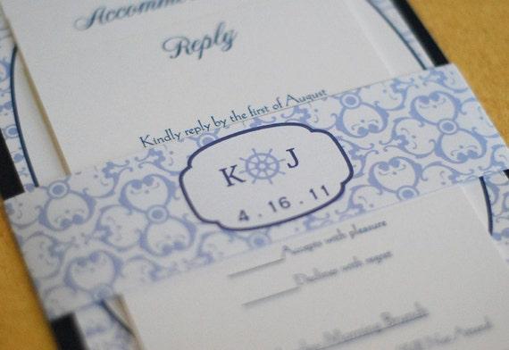 Ship's Wheel Monogram Wedding Invitation, Pocketfold invitation, nautical invitation, custom invitation, cape cod invitation