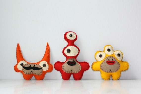 Trio of Mini Monsters You Pick Style and Color Red Blue Green Yellow Orange
