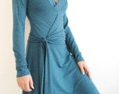 LAST ONE - SIZE M - Womens A line Wrap Dress made of Teal Jersey - Knee Length