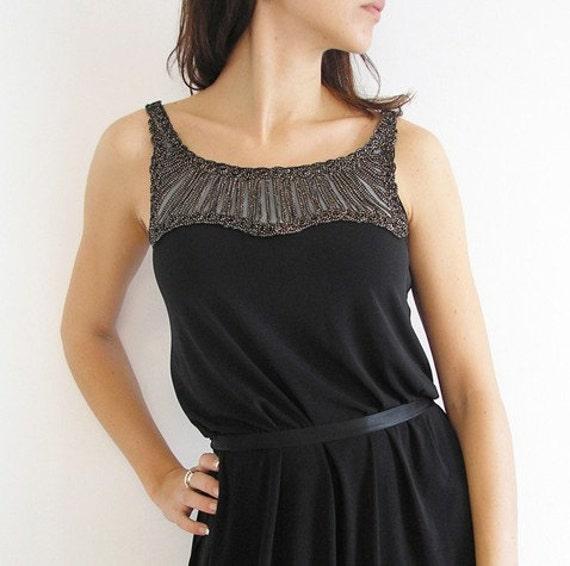 Glamorous Party Little Black Dress with Art Deco Applique