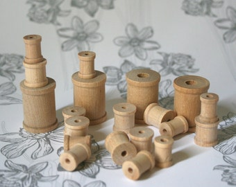 Wooden Spools in Three Sizes for Ribbon Storage Craft Projects Country Crafts
