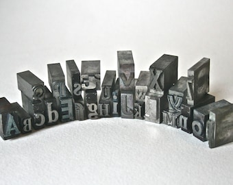Vintage Metal Printer's Type Alphabet for Printing Stamping Home Office Decor Assemblage Assorted Fonts Sizes