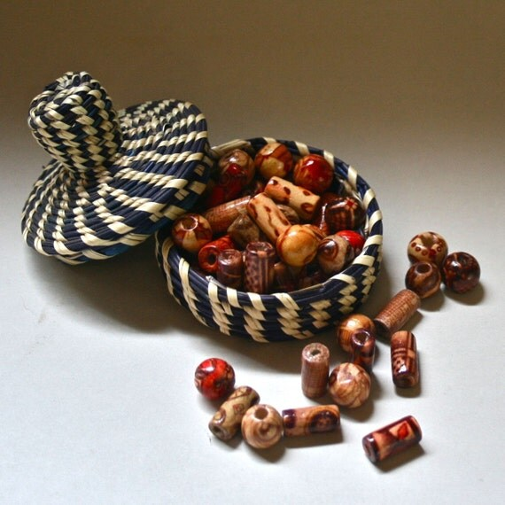 Ethnic Wooden Beads in Warm Earth Colors and Assorted Shapes for Crafting Beading Jewelry Making